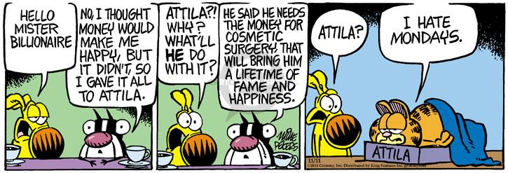 Comic Strip Mike Peters  Mother Goose and Grimm 2013-11-11 appearance