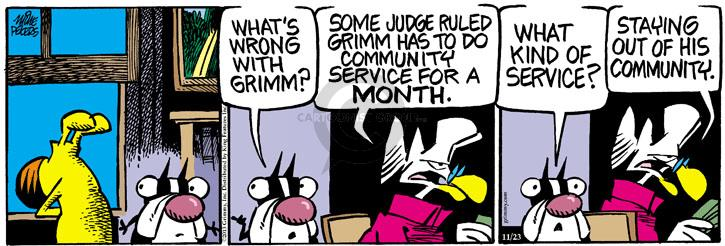 Cartoonist Mike Peters  Mother Goose and Grimm 2013-11-23 community service