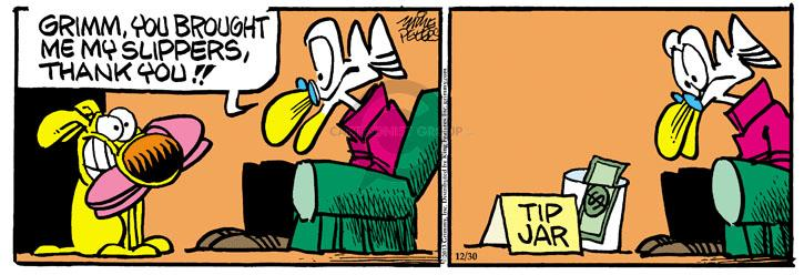Comic Strip Mike Peters  Mother Goose and Grimm 2013-12-30 compensation
