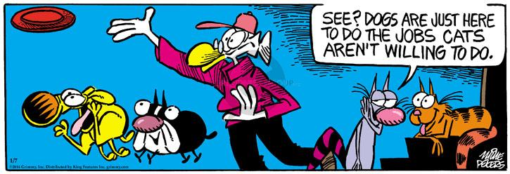 Comic Strip Mike Peters  Mother Goose and Grimm 2014-01-07 frisbee