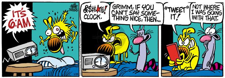 Cartoonist Mike Peters  Mother Goose and Grimm 2014-01-29 alarm