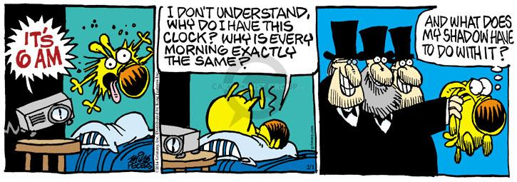 Cartoonist Mike Peters  Mother Goose and Grimm 2014-02-01 alarm