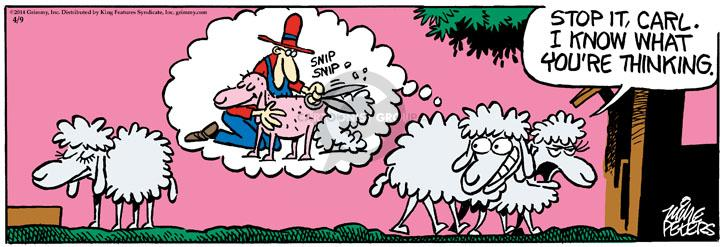 Cartoonist Mike Peters  Mother Goose and Grimm 2014-04-09 bare