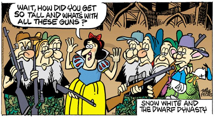Wait, how did you get so tall and whats with all these guns? Snow White and the Dwarf Dynasty.
