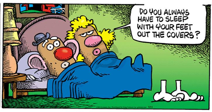Cartoonist Mike Peters  Mother Goose and Grimm 2014-05-11 foot