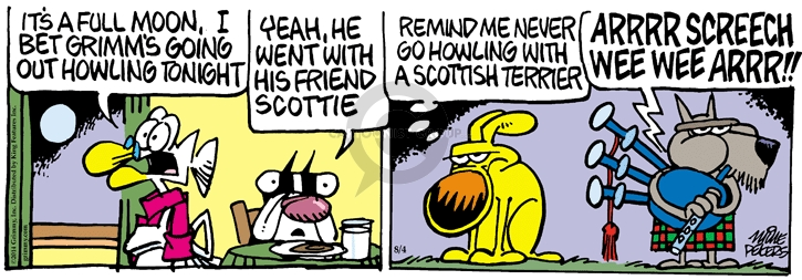 Cartoonist Mike Peters  Mother Goose and Grimm 2014-08-04 tonight