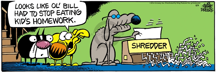 Comic Strip Mike Peters  Mother Goose and Grimm 2014-08-09 dog ate my homework