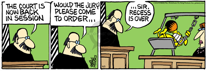 Comic Strip Mike Peters  Mother Goose and Grimm 2014-09-05 court