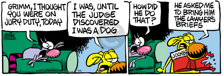 Cartoonist Mike Peters  Mother Goose and Grimm 2014-09-06 dog bite