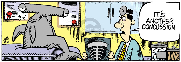 Comic Strip Mike Peters  Mother Goose and Grimm 2014-09-18 x-ray