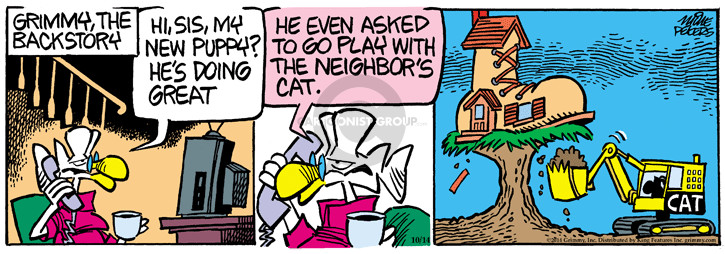 Cartoonist Mike Peters  Mother Goose and Grimm 2014-10-14 dig