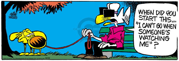 Comic Strip Mike Peters  Mother Goose and Grimm 2014-10-20 urinate