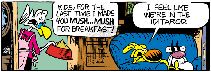 Comic Strip Mike Peters  Mother Goose and Grimm 2014-10-24 breakfast