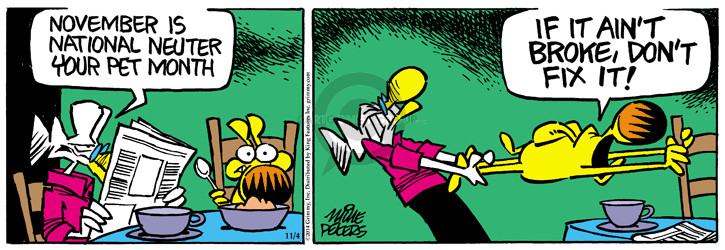 Comic Strip Mike Peters  Mother Goose and Grimm 2014-11-04 neuter