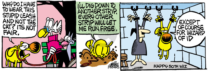 Cartoonist Mike Peters  Mother Goose and Grimm 2014-11-17 wizard