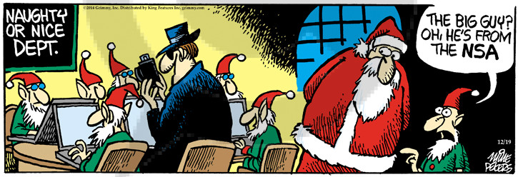 Cartoonist Mike Peters  Mother Goose and Grimm 2014-12-19 surveillance