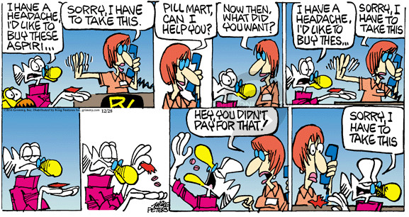 Comic Strip Mike Peters  Mother Goose and Grimm 2014-12-28 salesperson