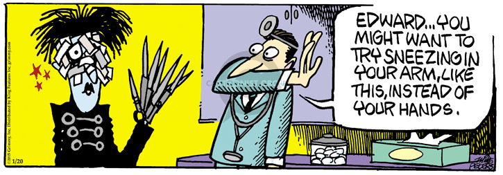 Cartoonist Mike Peters  Mother Goose and Grimm 2015-01-20 arm