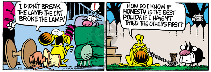 Comic Strip Mike Peters  Mother Goose and Grimm 2015-02-18 lie