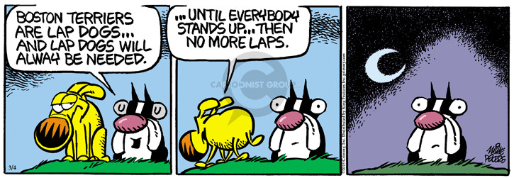 Cartoonist Mike Peters  Mother Goose and Grimm 2015-03-04 stand