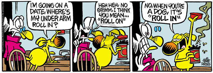 Cartoonist Mike Peters  Mother Goose and Grimm 2015-03-19 anti-perspirant