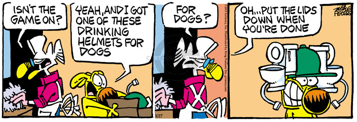 Comic Strip Mike Peters  Mother Goose and Grimm 2015-03-27 dog drink toilet