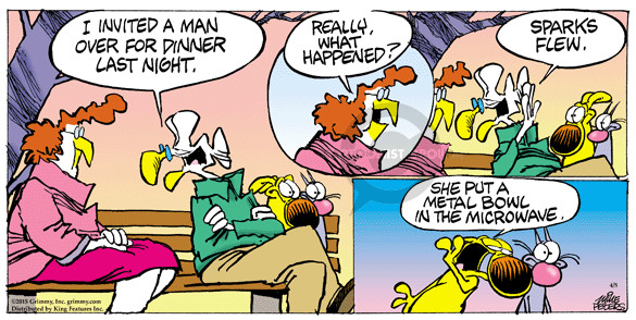 Cartoonist Mike Peters  Mother Goose and Grimm 2015-04-05 fly