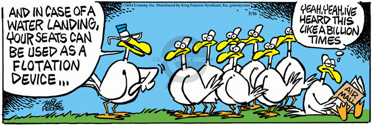 Cartoonist Mike Peters  Mother Goose and Grimm 2015-05-16 flight