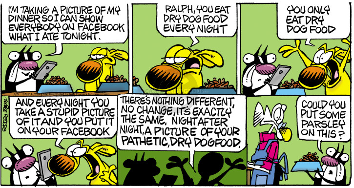 Cartoonist Mike Peters  Mother Goose and Grimm 2015-06-28 canned dog food