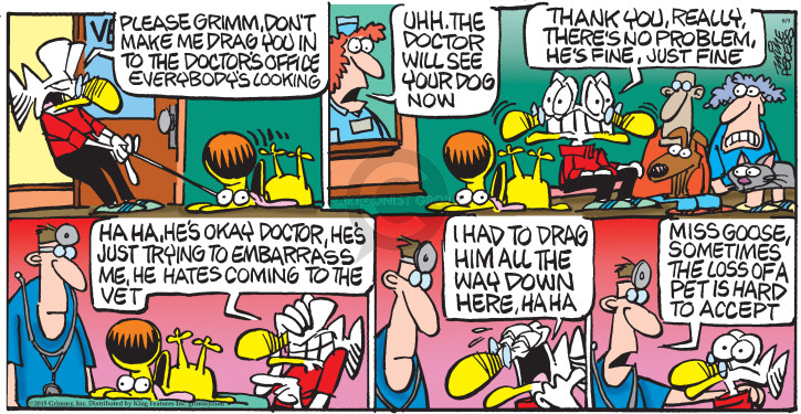 Comic Strip Mike Peters  Mother Goose and Grimm 2015-08-09 pet the dog
