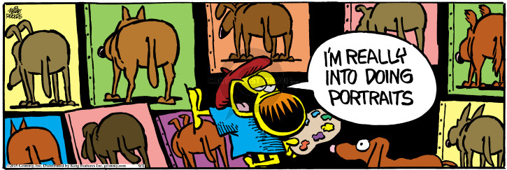Cartoonist Mike Peters  Mother Goose and Grimm 2015-09-01 painting