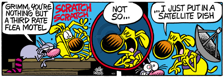 Cartoonist Mike Peters  Mother Goose and Grimm 2015-09-23 dog flea