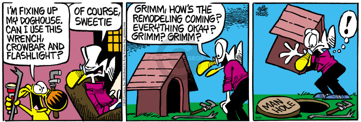 Cartoonist Mike Peters  Mother Goose and Grimm 2015-09-29 repair