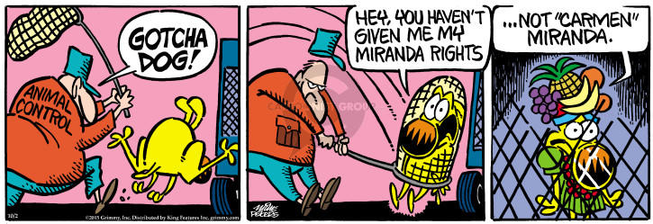 Comic Strip Mike Peters  Mother Goose and Grimm 2015-10-02 arrest