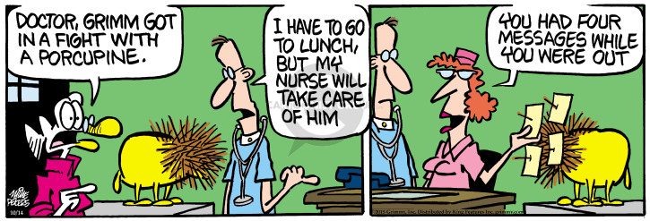 Comic Strip Mike Peters  Mother Goose and Grimm 2015-10-14 lunch