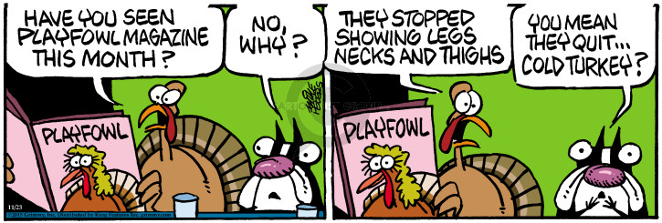 Have you seen Playfowl magazine this month? Playfowl. No, why? They stopped showing legs necks and thighs. You mean they quit … cold turkey?