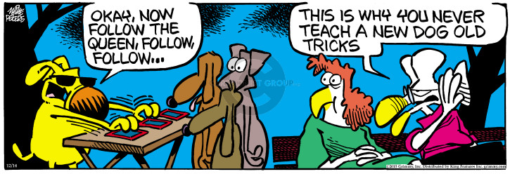 Cartoonist Mike Peters  Mother Goose and Grimm 2015-12-14 dog trick