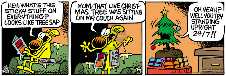 Cartoonist Mike Peters  Mother Goose and Grimm 2015-12-23 stand