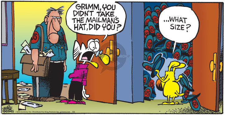 Cartoonist Mike Peters  Mother Goose and Grimm 2016-03-06 carrier