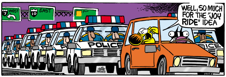 Cartoonist Mike Peters  Mother Goose and Grimm 2016-04-16 police