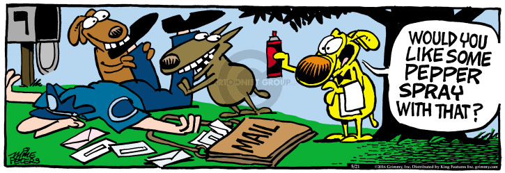 Cartoonist Mike Peters  Mother Goose and Grimm 2016-05-21 bit