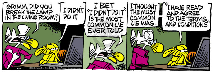 Cartoonist Mike Peters  Mother Goose and Grimm 2016-06-24 deception