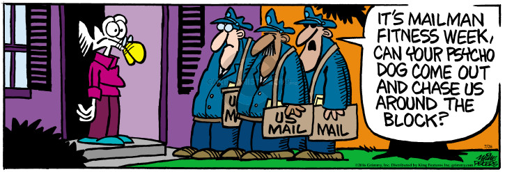 Cartoonist Mike Peters  Mother Goose and Grimm 2016-07-26 mailman