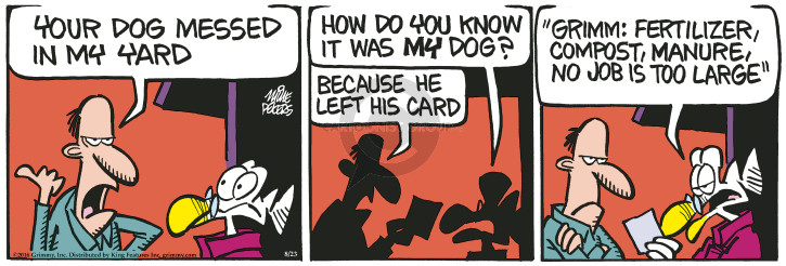 Cartoonist Mike Peters  Mother Goose and Grimm 2016-08-23 job