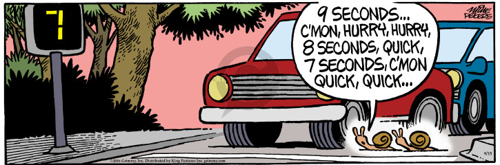 Cartoonist Mike Peters  Mother Goose and Grimm 2016-09-15 walk