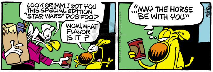 Cartoonist Mike Peters  Mother Goose and Grimm 2016-10-17 canned dog food