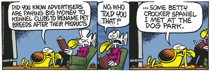 Cartoonist Mike Peters  Mother Goose and Grimm 2017-01-28 breed