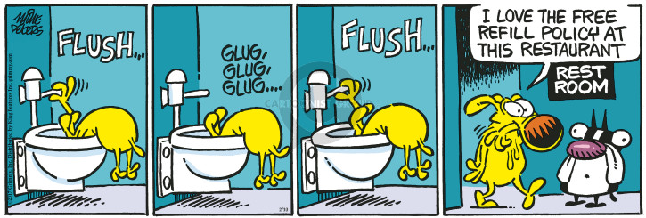 Comic Strip Mike Peters  Mother Goose and Grimm 2017-02-10 flush the toilet
