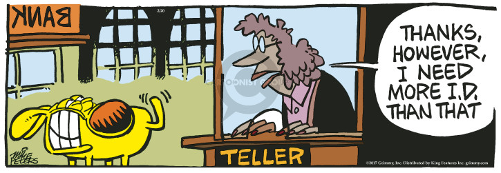 Comic Strip Mike Peters  Mother Goose and Grimm 2017-02-20 bank teller