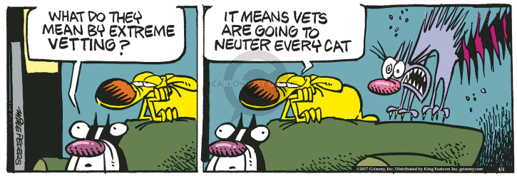 Cartoonist Mike Peters  Mother Goose and Grimm 2017-04-04 mean